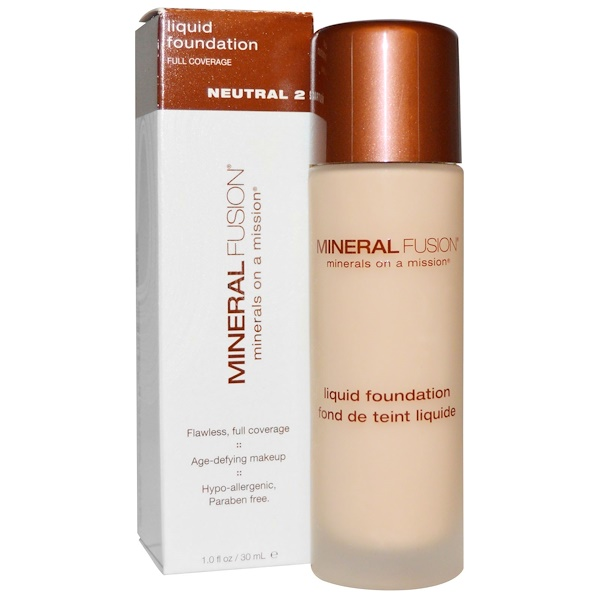 Mineral Fusion, リキッド ファンデーション、ニュートラル 2、1.0 fl oz (30 ml) (Discontinued Item)