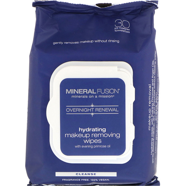 Mineral Fusion, Overnight Renewal, Hydrating Makeup Removing Wipes, 30 Towelettes