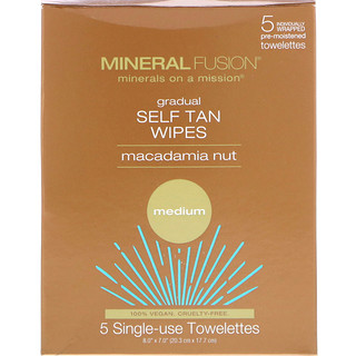 Mineral Fusion, Gradual Self Tan Wipes, Macadamia Nut, Medium, 5 Individually Wrapped Towelettes