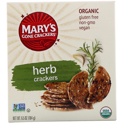 Купить Органические крекеры с травами, 6, 5 унции (184 г)