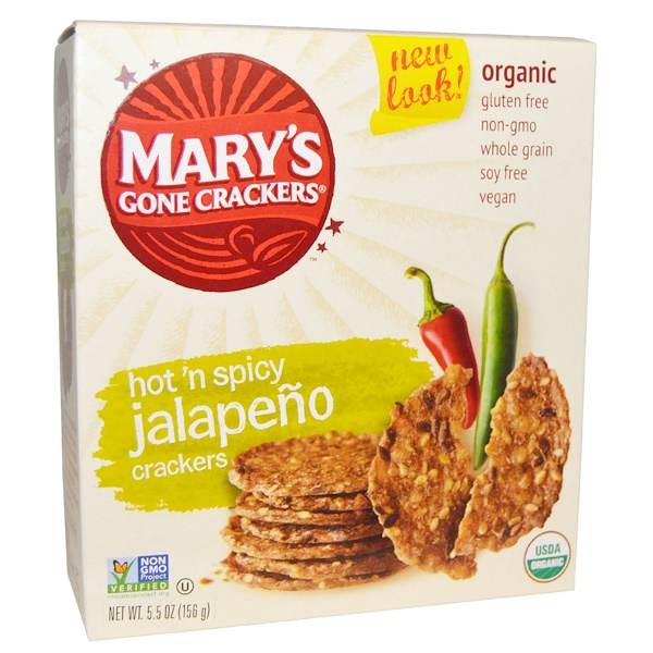 Mary's Gone Crackers, Organic, Hot 'n Spicy Jalapeno Crackers, 5、5 oz (156 g)