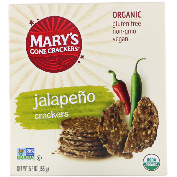 Mary's Gone Crackers, Jalapeno Crackers, 5.5 oz (155 g)