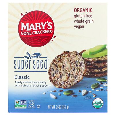 Органические крекеры Super Seed, классические, 155г (5,5унции) exotic rice toast цельнозерновые крекеры фиолетовый рис и черный кунжут 65 г 2 25 унции