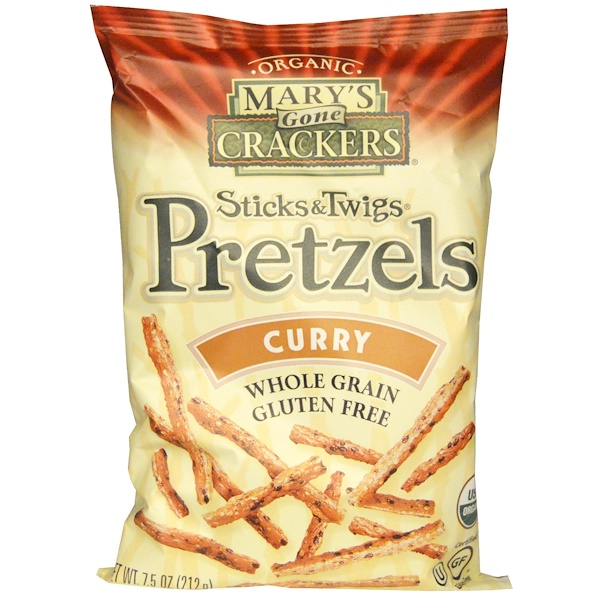 Mary's Gone Crackers, Organic, Sticks & Twigs Pretzels, Curry, 7.5 oz (212 g) (Discontinued Item)