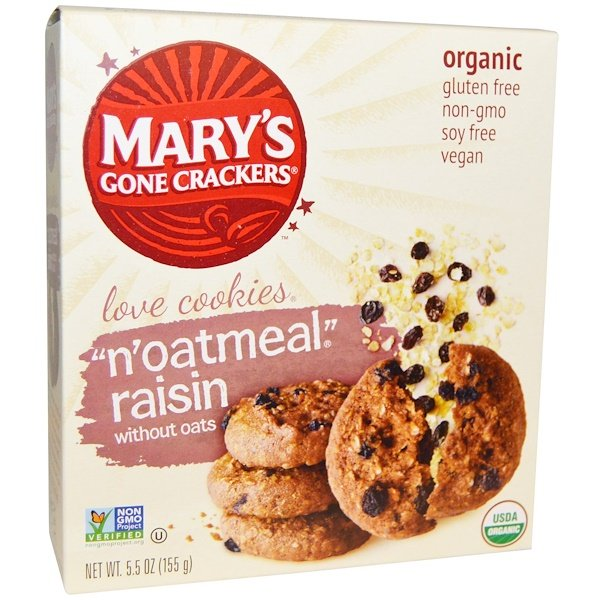 "Mary's Gone Crackers, Organic, Love Cookies,""N`Oatmeal"" Raisin without Oats , 5.5 oz (155 g) (Discontinued Item)"