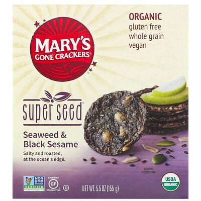 Купить Mary's Gone Crackers Крекеры Super Seed, нори и черный кунжут, 155г