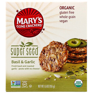 Mary's Gone Crackers, Super Seed Crackers, Basil & Garlic, 5.5 oz (155 g)