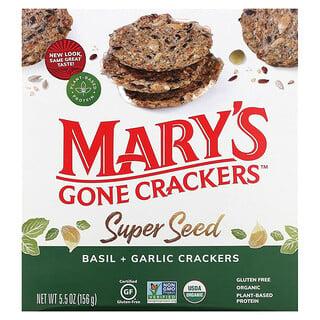 Mary's Gone Crackers, Super Seed Crackers, Basil + Garlic, 5.5 oz (156 g)
