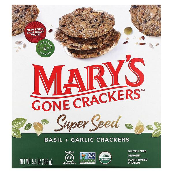 Super Seed Crackers, Basil + Garlic, 5.5 oz (156 g)