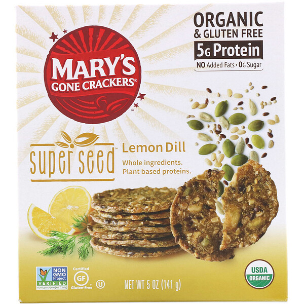 Mary's Gone Crackers, Super Seed Crackers، بالليمون، 5 أوقية (141 جم)
