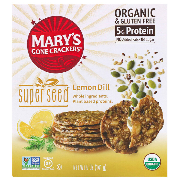 Mary's Gone Crackers, Biscoitos Super Seed, Limão e Endro, 5 oz (141 g) (Discontinued Item)