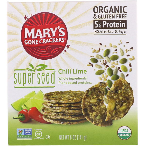 Mary's Gone Crackers, Super Seed Crackers, Chili Lime, 5 oz (141 g)