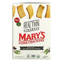 Mary's Gone Crackers, Real Thin Crackers, Olive Oil + Cracked Black Pepper, 5 oz (142 g)