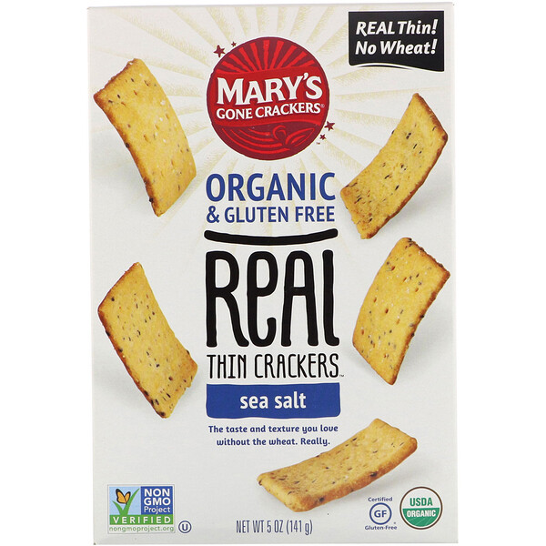 Mary's Gone Crackers, Real Thin Crackers, Sea Salt, 5 oz (141 g)