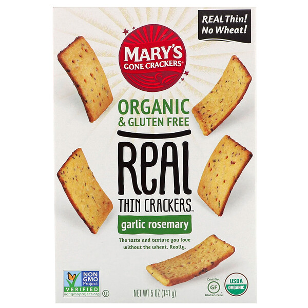 Mary's Gone Crackers, Crackers ultra fins, Ail et romarin, 141 g