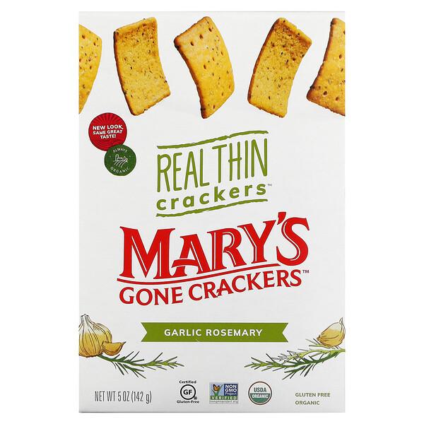 Real Thin Crackers, Garlic Rosemary, 5 oz (142 g)
