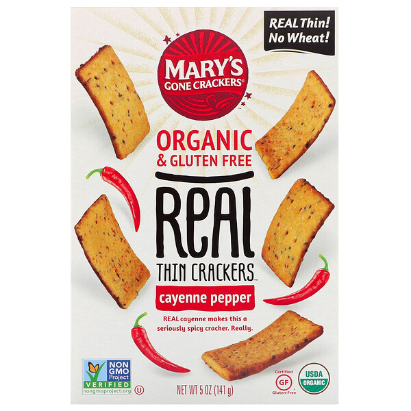 Mary's Gone Crackers, Real Thin Crackers, Cayenne Pepper, 5 oz (141 g) (Discontinued Item)