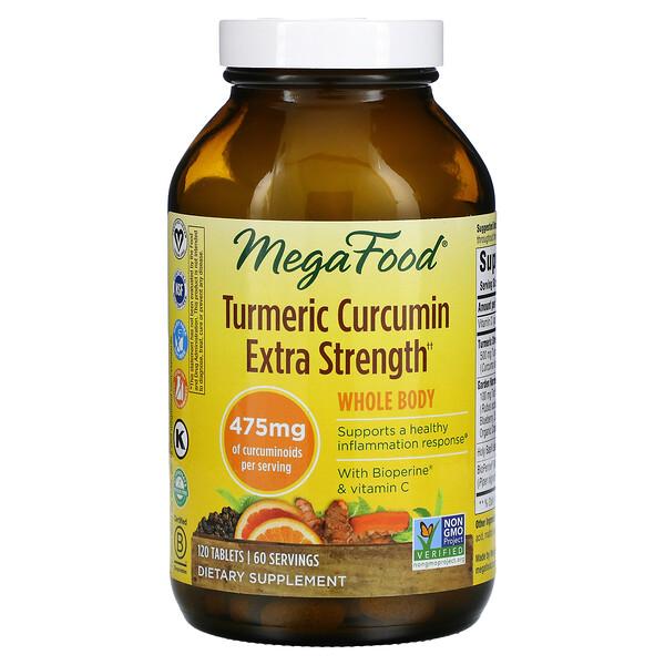 MegaFood, Turmeric Curcumin Extra Strength, Whole Body, 237.5 mg, 120 Tablets