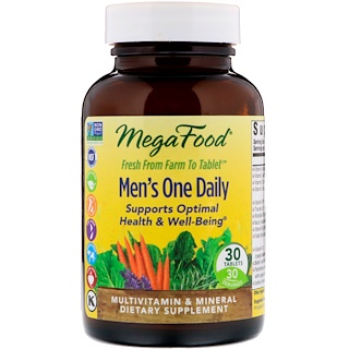 MegaFood, Men's One Daily, Iron Free, 30 Tablets