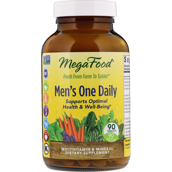 MegaFood, Men's One Daily, Sin Hierro, 90 Tabletas