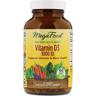 MegaFood, Vitamin D3, 1,000 IU, 90 Tablets