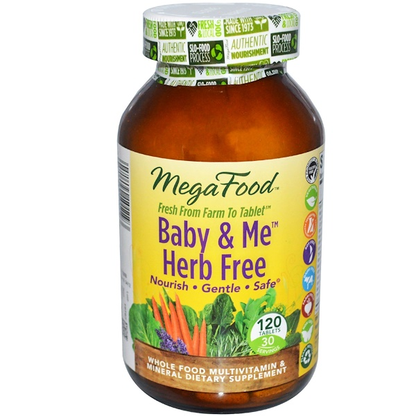 MegaFood, DailyFoods, Baby & Me, Herb Free, 120 Tablets (Discontinued Item)