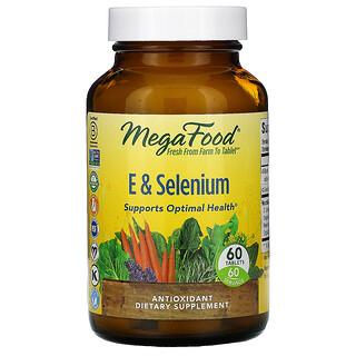 MegaFood, E & Selenium, 60 Tablets