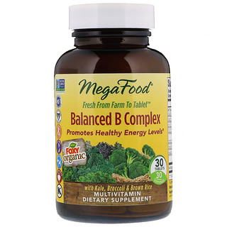 MegaFood, Сбалансированный комплекс витаминов В (Balanced B Complex), 30 таблеток