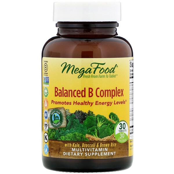 MegaFood, Complexe Equilibré de Vitamines B, 30 comprimés