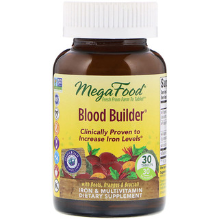 MegaFood, Blood Builder, Iron & Multivitamin Supplement, 30 Tablets