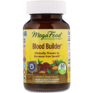 MegaFood, Blood Builder, Iron & Multivitamin Supplement, 60 Tablets
