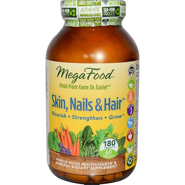 MegaFood, Skin, Nails & Hair, 180 Tablets (Discontinued Item)
