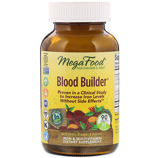 MegaFood, Blood Builder, Eisen & Multivitaminpräparat, 90 Tabletten
