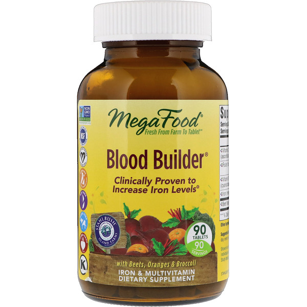 MegaFood, Blood Builder, Iron & Multivitamin Supplement, 90 Tablets