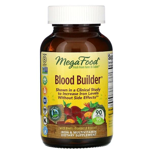 MegaFood, Blood Builder, suplemento de hierro y multivitamínico, 90 tabletas