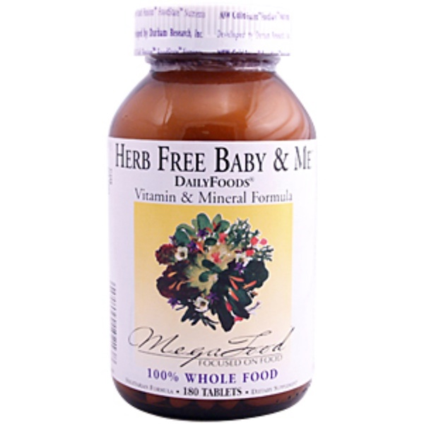MegaFood, DailyFoods, Herb Free Baby & Me, 180 Tablets (Discontinued Item)