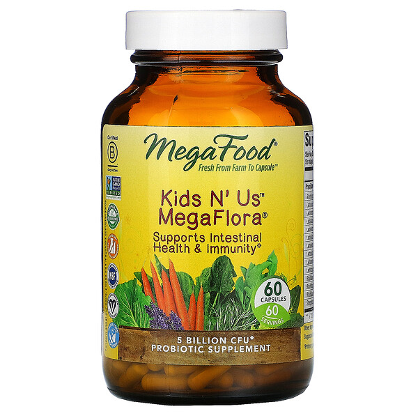 MegaFood, Kids N' Us MegaFlora, 5 Billion CFU, 60 Capsules (Ice)