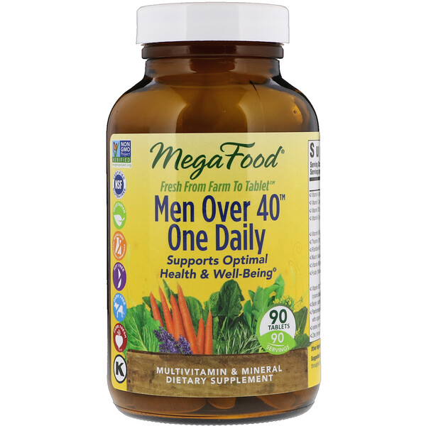 Men Over 40 One Daily, Iron Free Formula, 90 Tablets