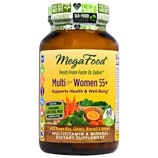 MegaFood, Multi for Women Over 55+, Multivitamin & Mineral, Iron Free, 60 Tablets