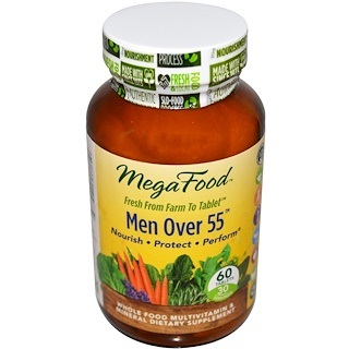 MegaFood, Men Over 55, Whole Food Multivitamin & Mineral, Sin Hierro, 60 Tabletas
