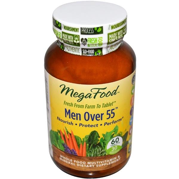 MegaFood, 55歲以上男士不含鐵全食物多維 & 礦物質營養素,60 片