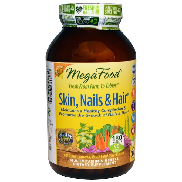 MegaFood, Skin, Nails & Hair, Multivitamin & Herbal, 180 Tablets (Discontinued Item)
