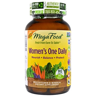 MegaFood, ウーマンズワンデイリー、 自然食品マルチビタミン&ミネラル、 90錠