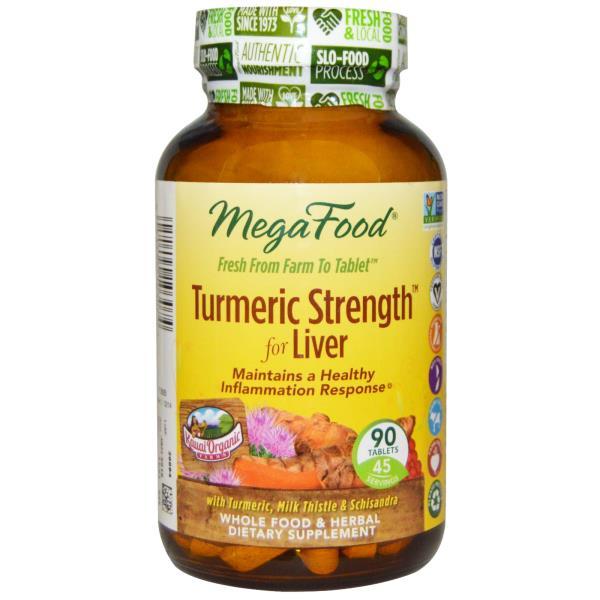 MegaFood, Turmeric Strength, for Liver, 90 Tablets