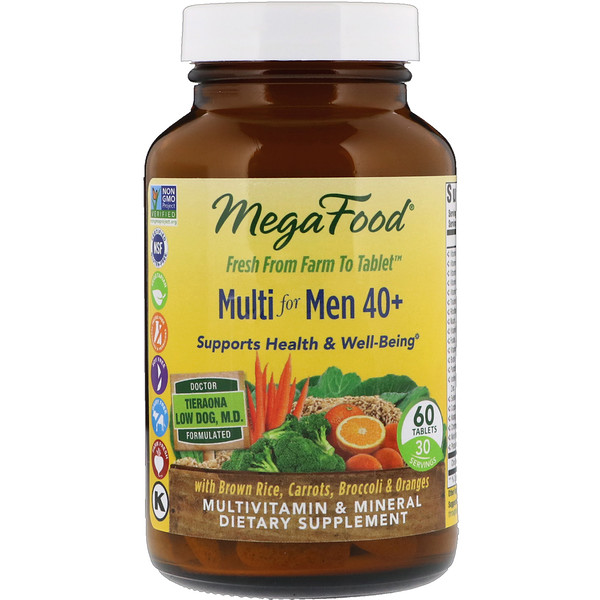 MegaFood, Multi for Men 40+, 60 Tablets
