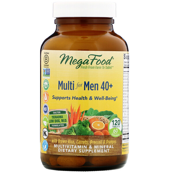 MegaFood, Multi for Men 40 +, 120 Tablets