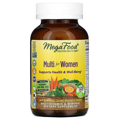 Купить MegaFood Multi for Women, комплекс витаминов и микроэлементов для женщин, 120таблеток