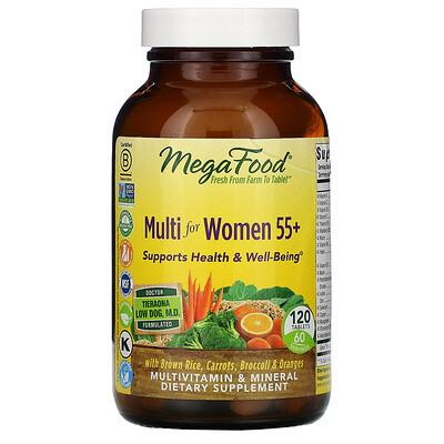 Купить MegaFood Multi for Women 55+, комплекс витаминов и микроэлементов для женщин старше 55лет, 120таблеток