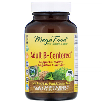 MegaFood Взрослый B-основанный, мультивитаминный комплекс с травами, 90 таблеток
