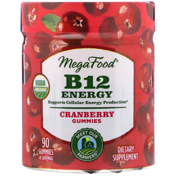 MegaFood, B12 Energy, Cranberry, 90 Gummies